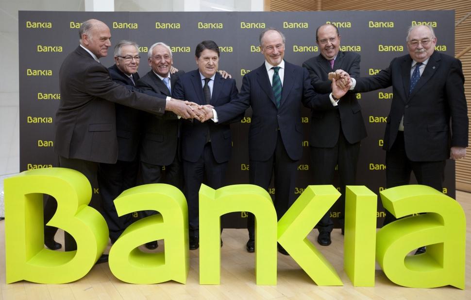 Francisco Verdú, José Luis Olivas y Rodrigo Rato en la salida a bolsa de Bankia