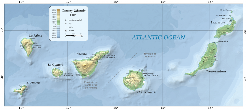 Map of the Canary Islands